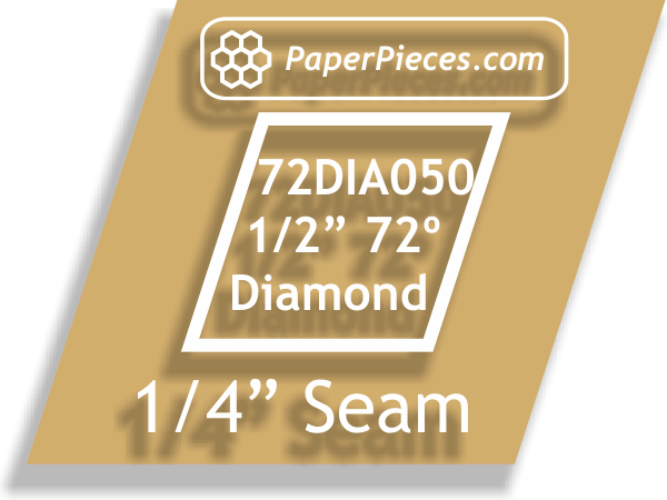 "1/2"" 72 Degree Diamonds: Windowed Acrylic Fabric Cutting Templates 1/4"" Seam Allowance"