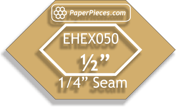 "1/2"" Elongated Hexagon: Windowed Acrylic Fabric Cutting Templates 1/4"" Seam Allowance"