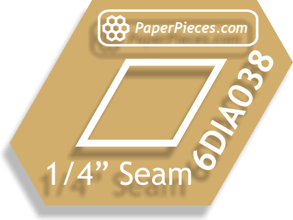 "3/8"" 6 Point Diamonds: Windowed Acrylic Fabric Cutting Templates 1/4"" Seam Allowance"