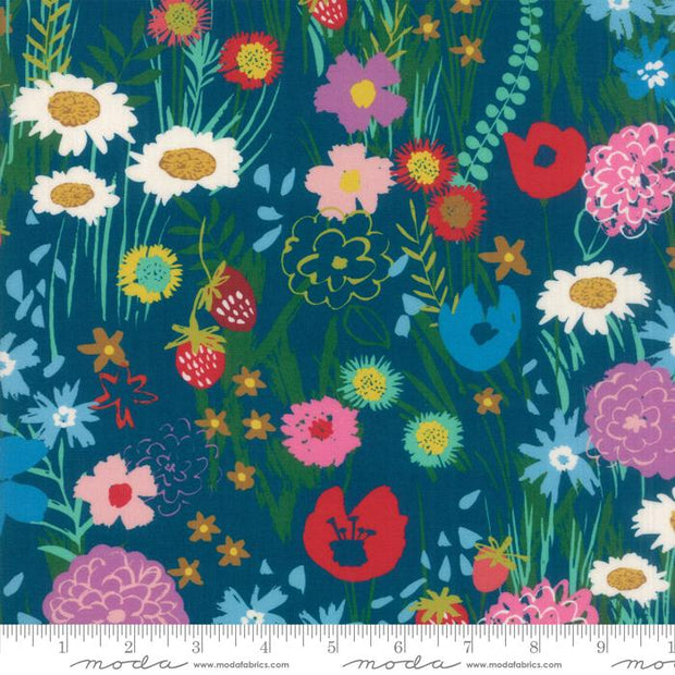 "54"" Growing Beautiful Floral Rayon Wildflowers Dark Blue"