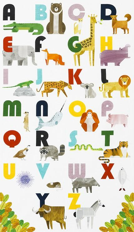 A to Z Animals White Animal Alphabet Panel