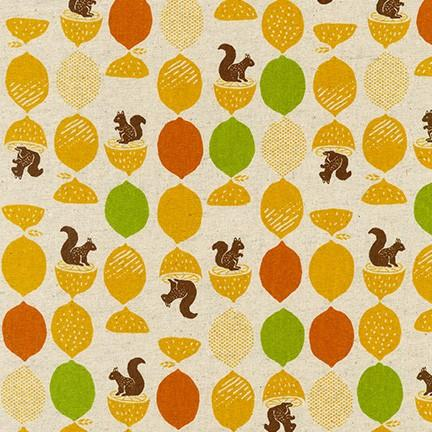 Cotton Flax Prints Squirrel Citrus