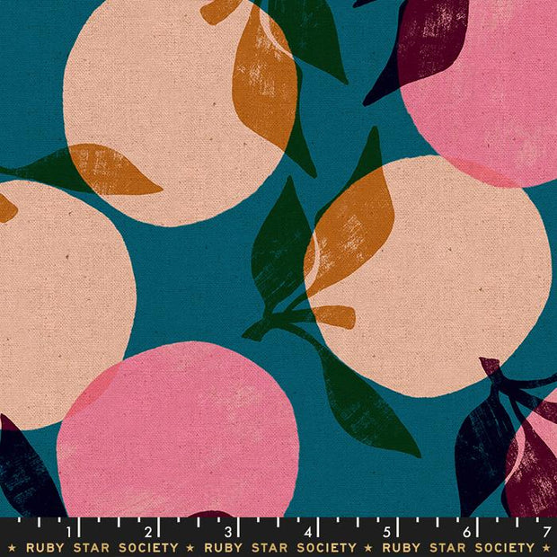 Cotton Linen Canvas Peaches Teal