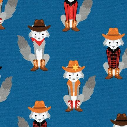 Coyote Cowboy Foxes in Blue