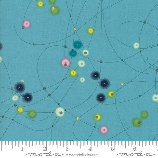 Day In Paris Teal Metallic Watercolor Dots Turquoise