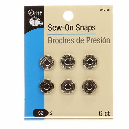 Sew On Snaps Nickel Sz 2 6ct