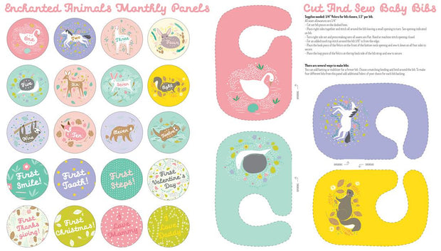 Enchanted Animals Monthly Panels - Cut & Sew Baby Bibs