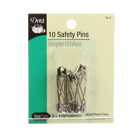 Safety Pin Nickel Size 2 1 1/2in 10ct