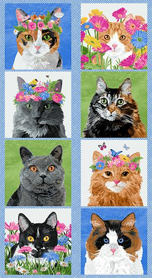 Meow Meadow Blue Cat Panel