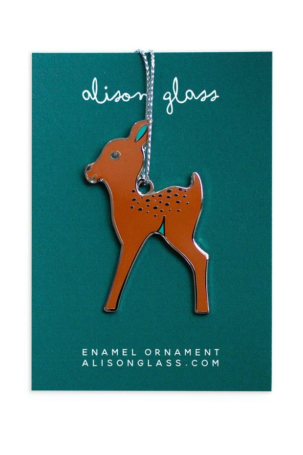 Brown Fawn Enamel Ornament
