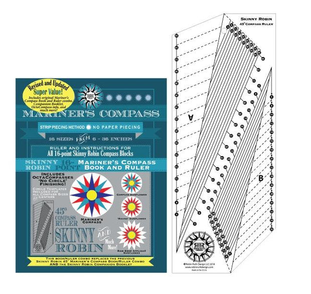 Skinny Robin 16-point Mariner's Compass Book adn Ruler Combo