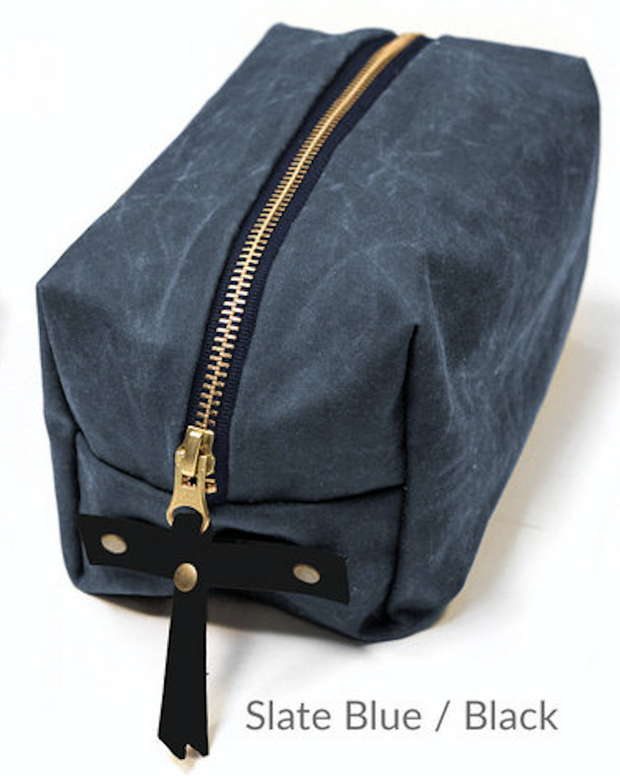 Woodland Maker Kit Slate Blue Main, Black Leather, Brass Rivets