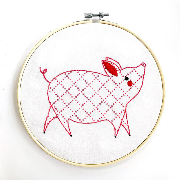 Farm Fresh Embroidery Sampler Little Piggy
