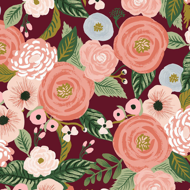 Garden Party Juliet Rose Burgundy Canvas