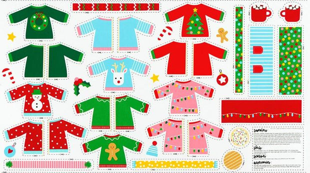 Girl Friends Holiday Party Ugly Christmas Sweaters Doll Panel