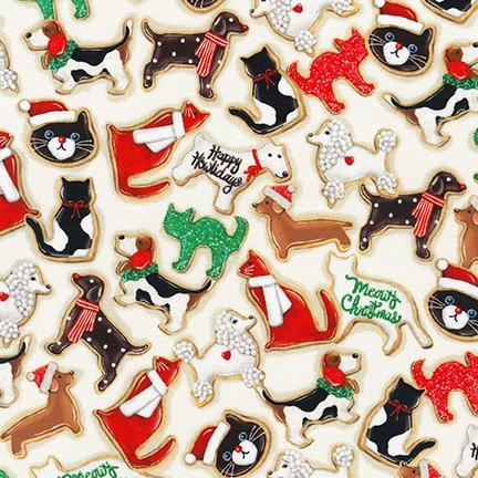 Holly Jolly Christmas Dog & Cat Christmas Cookies Ivory