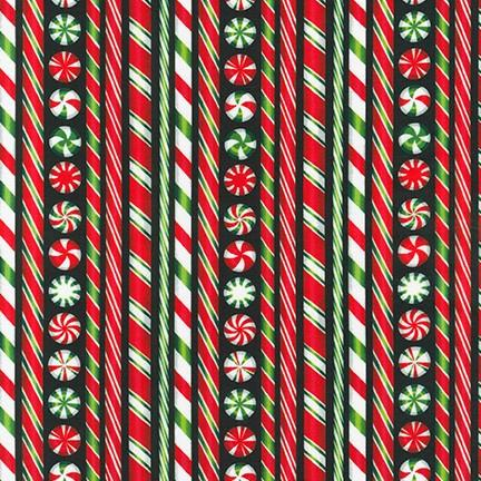 Holly Jolly Christmas Red & Green Candy Canes Black