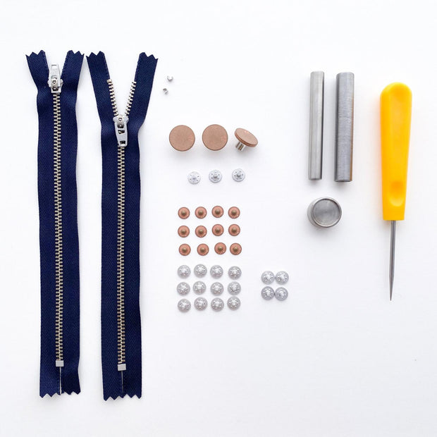 Jeans Hardware Kit 15cm Navy Zipper with Copper Hardware