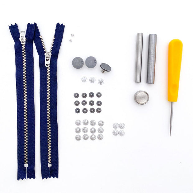 Jeans Hardware Kit 15cm Navy Zipper with Pewter Hardware