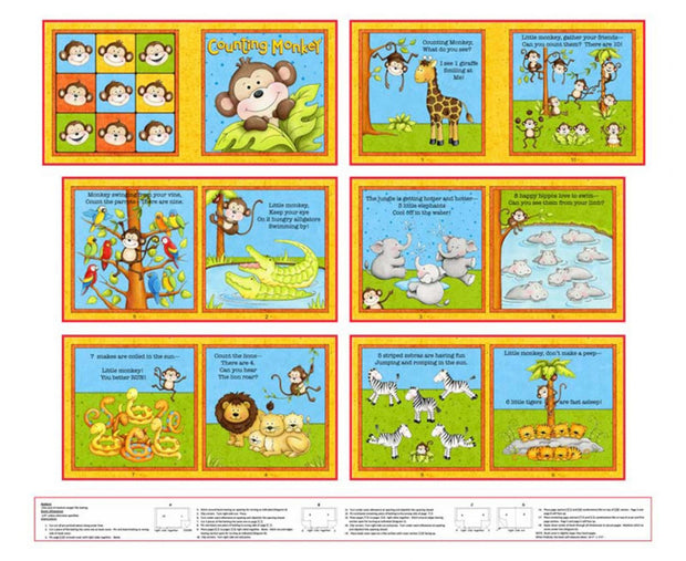 Little Readers Counting Monkey Book Panel 36in x 44in Multi