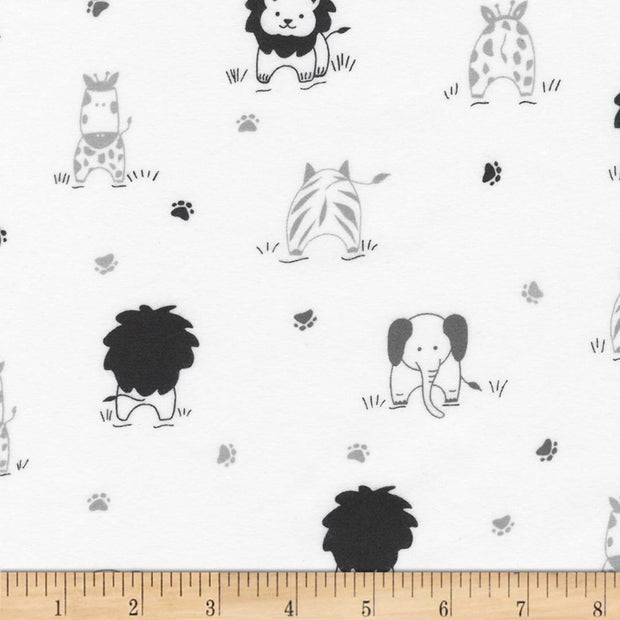 Little Savannah Flannel White Animals