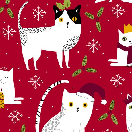 Meowy Christmas Cats Red