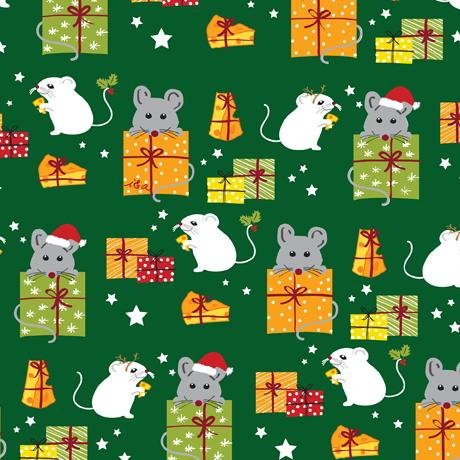 Meowy Christmas Mice & Gifts Green