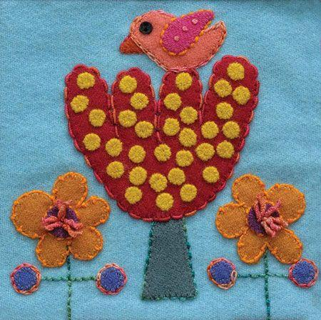 Pre-Cut Wool Block Bird & Tree Colorway 4