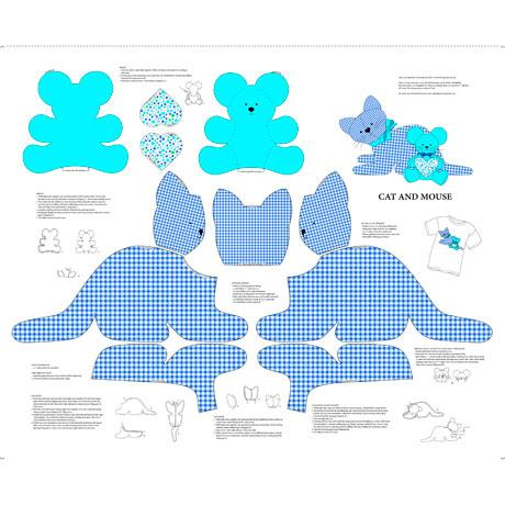 Sew N Go VIII Cat & Mouse Stuffable Blue
