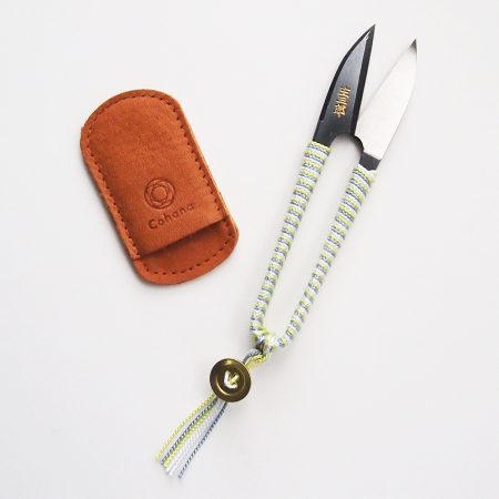 Shozaburo Thread Snips with Silk Iga Braid Yellow