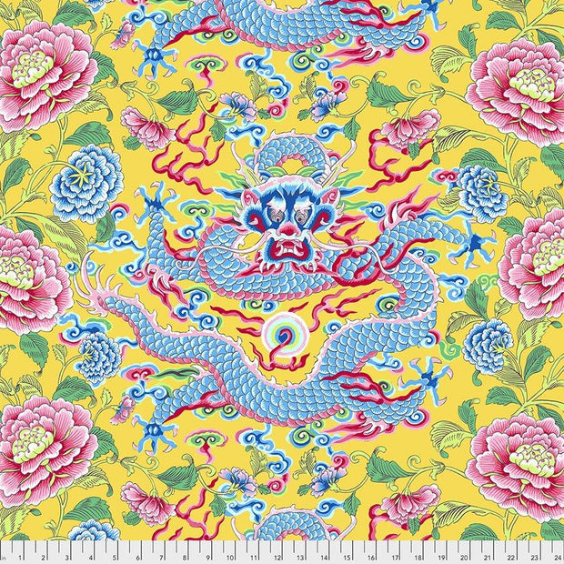 Silk Road Dragon & Peony Yellow