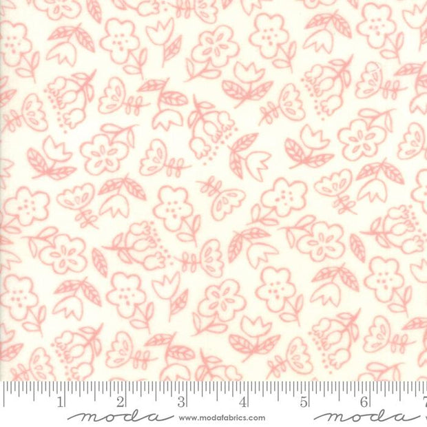 Soft Sweet Flannel Pink Cream Dancing Flowers