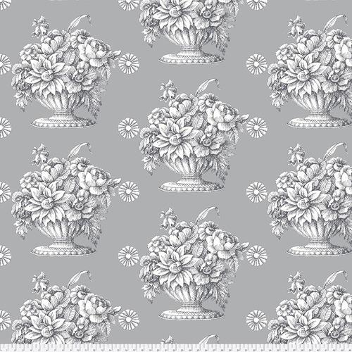 Stone Flower Sateen Grey Backing Fabric