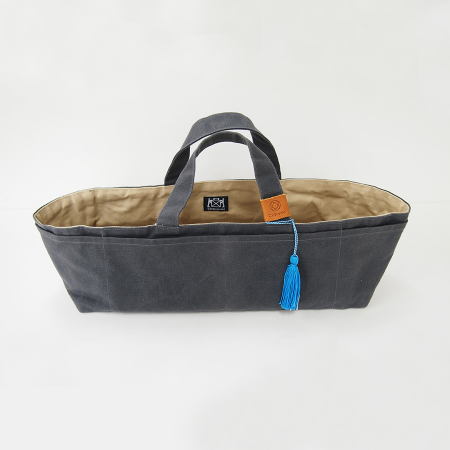 Waxed Canvas Work Bag Grey w/ Blue Tassel