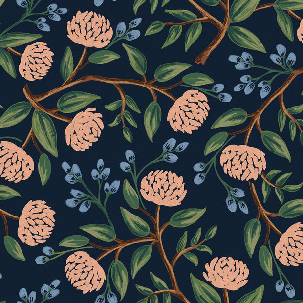 Wildwood Peonies Blue Canvas