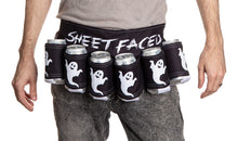 Load image into Gallery viewer, Sheet Faces Beer Belt. Ghosts on Each Beverage Holder.