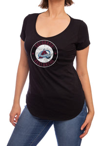 NHL ladies V Neck Short Sleeve Casual Tunic T-Shirt- Colorado Avalanche Front