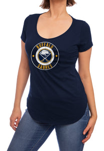 NHL ladies V Neck Short Sleeve Casual Tunic T-Shirt- Buffalo Sabres Front Model