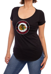 NHL ladies V Neck Short Sleeve Casual Tunic T-Shirt- Chicago Blackhawks Front