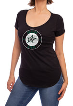 Load image into Gallery viewer, NHL ladies V Neck Short Sleeve Casual Tunic T-Shirt- Dallas Stars
