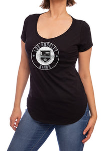 NHL ladies V Neck Short Sleeve Casual Tunic T-Shirt- Los Angeles Kings