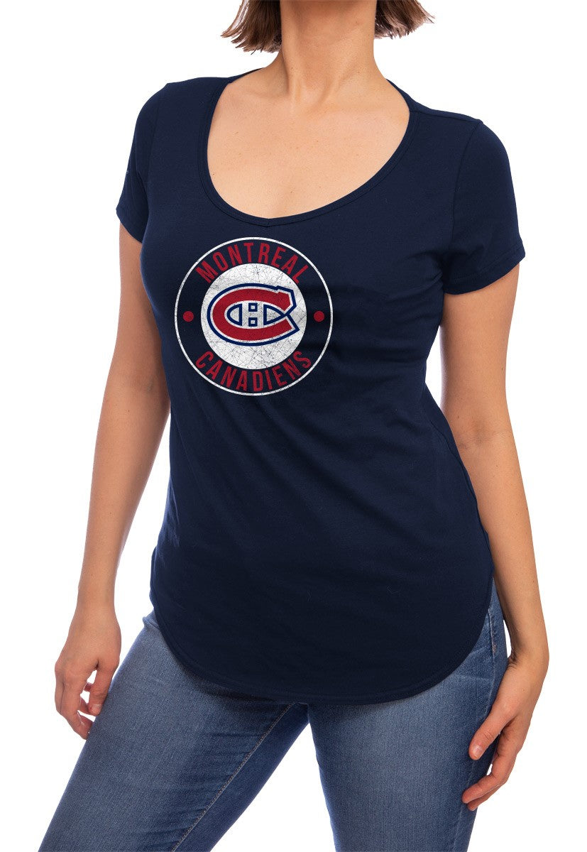 NHL ladies V Neck Short Sleeve Casual Tunic T-Shirt- Montreal Canadiens