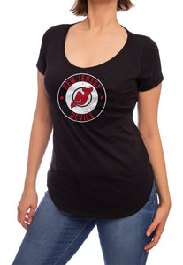 NHL ladies V Neck Short Sleeve Casual Tunic T-Shirt- New Jersey Devils