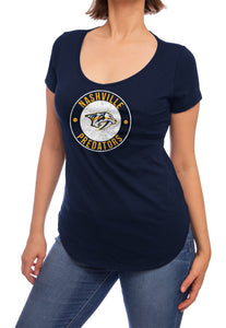 NHL ladies V Neck Short Sleeve Casual Tunic T-Shirt- Nashville Predators
