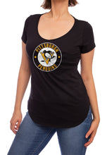 Load image into Gallery viewer, NHL ladies V Neck Short Sleeve Casual Tunic T-Shirt- Pittsburgh Penguins Front
