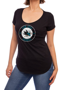 NHL ladies V Neck Short Sleeve Casual Tunic T-Shirt-San Jose Sharks Front