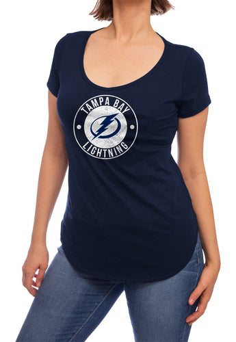 NHL ladies V Neck Short Sleeve Casual Tunic T-Shirt-  Tampa Bay Lightning Front