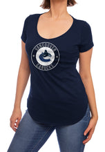 Load image into Gallery viewer, NHL ladies V Neck Short Sleeve Casual Tunic T-Shirt- Vancouver Canucks