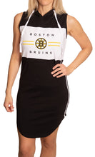 Load image into Gallery viewer, Ladies NHL Side Stripe  Casual Pullover Sleeveless Hoodie Dress- Boston Bruins Front View Full Length View