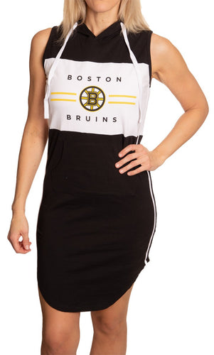 Ladies NHL Side Stripe  Casual Pullover Sleeveless Hoodie Dress- Boston Bruins Front View Full Length View